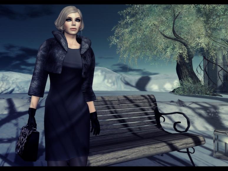 valentina black dress fur bomber